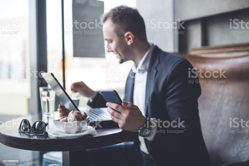 Business man in cafe stock photo