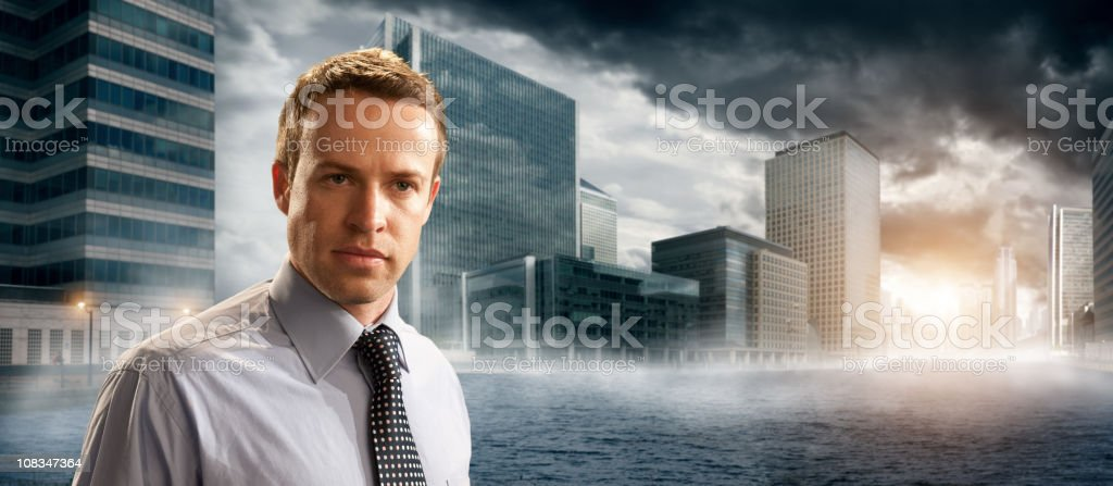 business man in front of city royalty-free stock photo