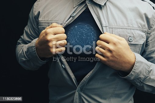 158909167istockphoto Business man in shirt with a picture sphere social connection technologies. 1130320895