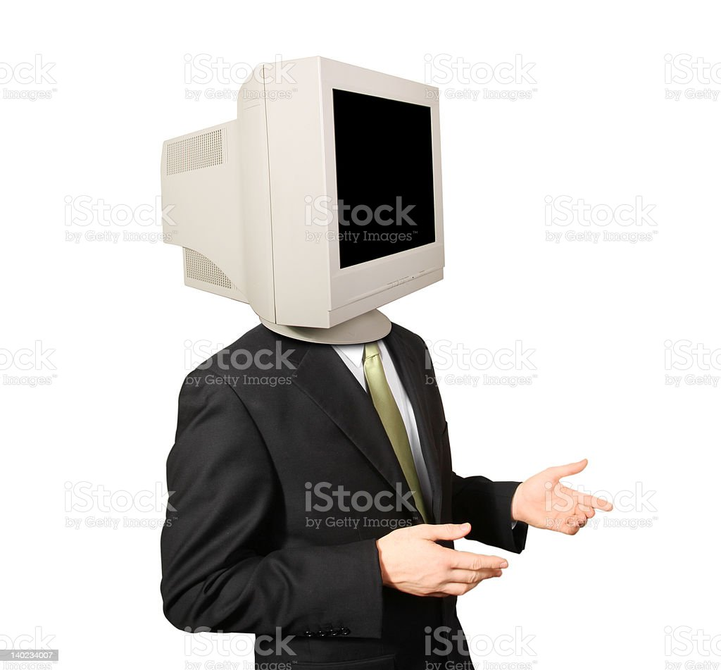 Business man interacting with monitor for head royalty-free stock photo