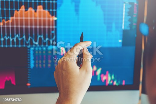 istock Business Man Investment discussing and analysis graph stock market trading,stock chart concept 1068734760