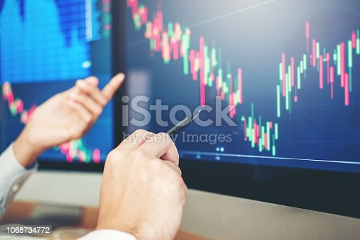 istock Business Man Investment discussing and analysis graph stock market trading,stock chart concept 1068734772