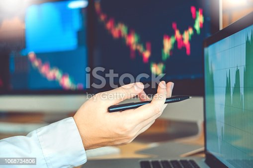 istock Business Man Investment discussing and analysis graph stock market trading,stock chart concept 1068734806