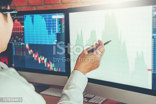 istock Business Man Investment discussing and analysis graph stock market trading,stock chart concept 1075234910