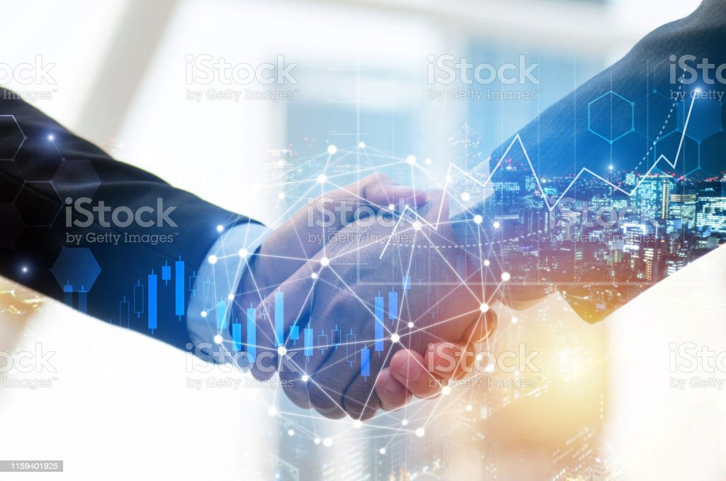 business man investor handshake with global network link connection and graph chart stock market diagram and city background, digital technology, internet communication, teamwork, partnership concept business man investor handshake with global network link connection and graph chart stock market diagram and city background, digital technology, internet communication, teamwork, partnership concept Adult Stock Photo