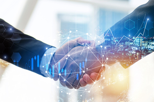 Business Man Investor Handshake With Global Network Link Connection And Graph Chart Stock Market Diagram And City Background Digital Technology Internet Communication Teamwork Partnership Concept Stock Photo - Download Image Now