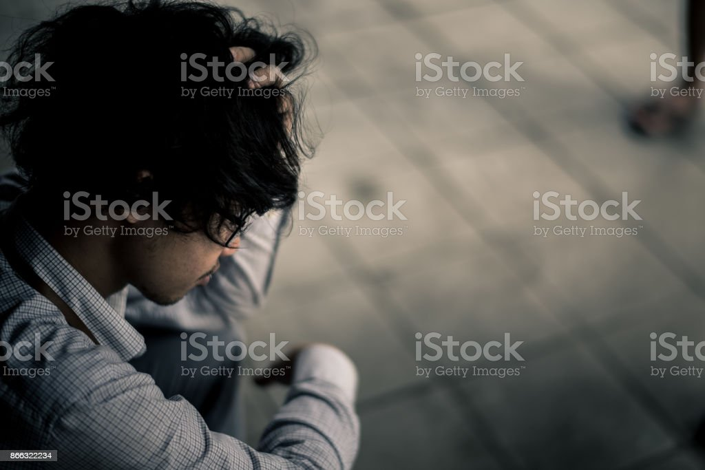 business man is stressed from his work. depression and anxiety...