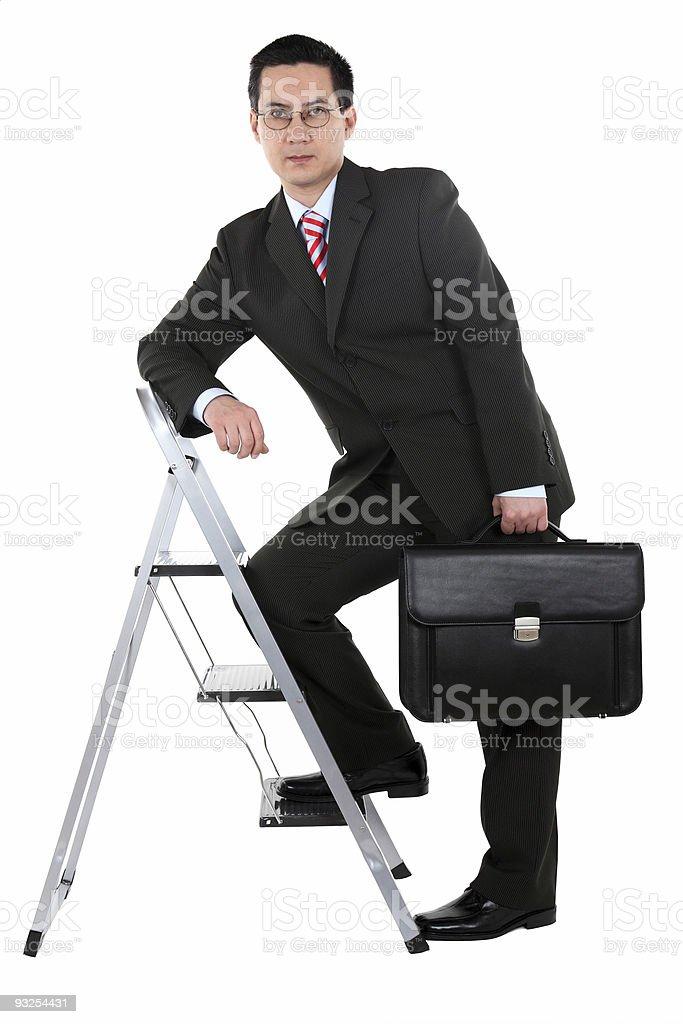 Business Man Job Ladder Serious stock photo