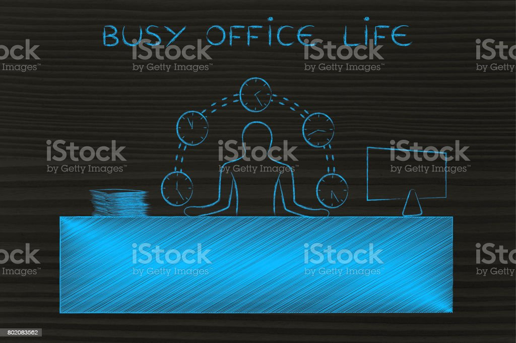 business man juggling time (clocks) at the office, busy office life stock photo