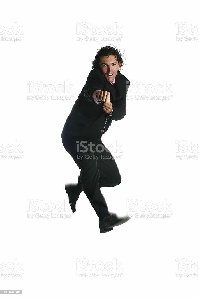 Business man - Karate Kick royalty-free stock photo