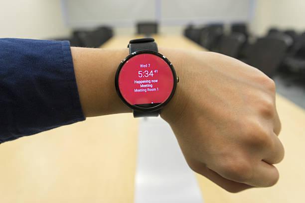 business man look smartwatch at meeting room show agenda schedule - calendar workout bildbanksfoton och bilder