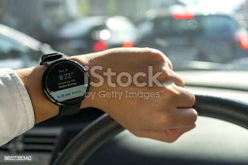istock business man look smartwatch Leather watchbands black color circle front on left hand show agenda weekly meeting schedule notification when where and organize in car with traffic jam 865238340