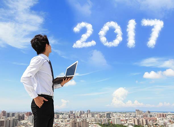 business man look to 2017 - chinesischer kalender stock-fotos und bilder