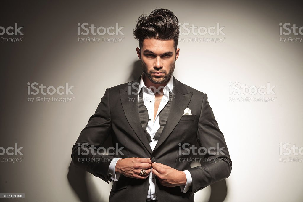 business man looking at the camera stock photo