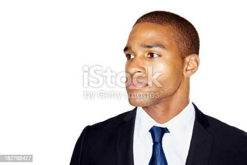istock Business man looking thoughtfully at copyspace 182768427