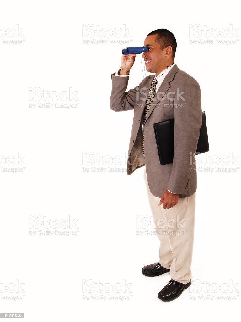 Business Man Looking Through Binoculars royalty-free stock photo