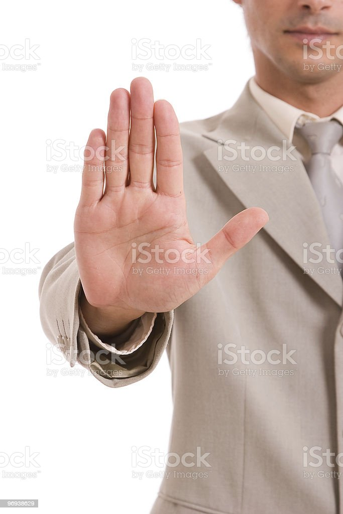 Business man making stop sign royalty-free stock photo