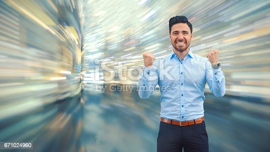 istock Business man observing fast speed dataflow 671024960