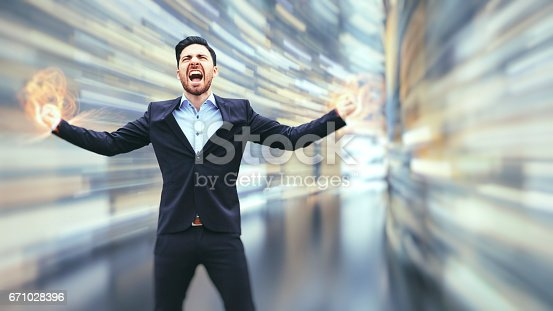 istock Business man observing fast speed dataflow 671028396