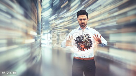 istock Business man observing fast speed dataflow 671041768