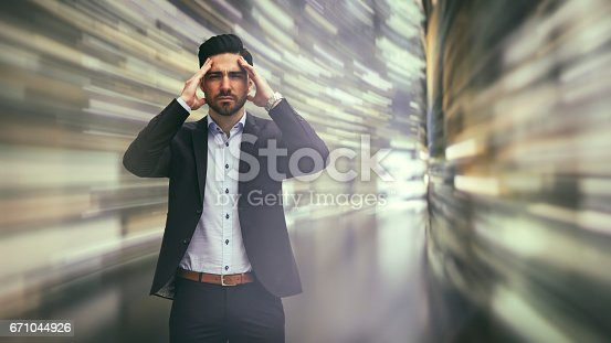 istock Business man observing fast speed dataflow 671044926
