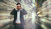 istock Business man observing fast speed dataflow 671044926