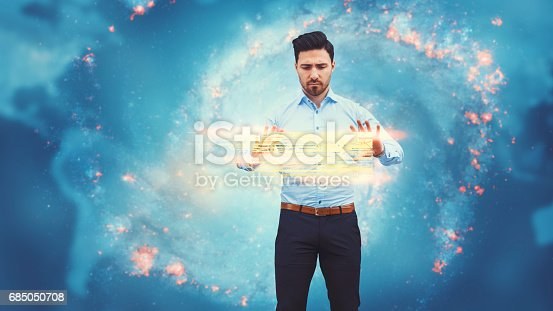 istock Business man observing fast speed dataflow 685050708