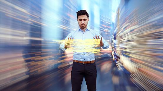 Business man observing fast speed dataflow