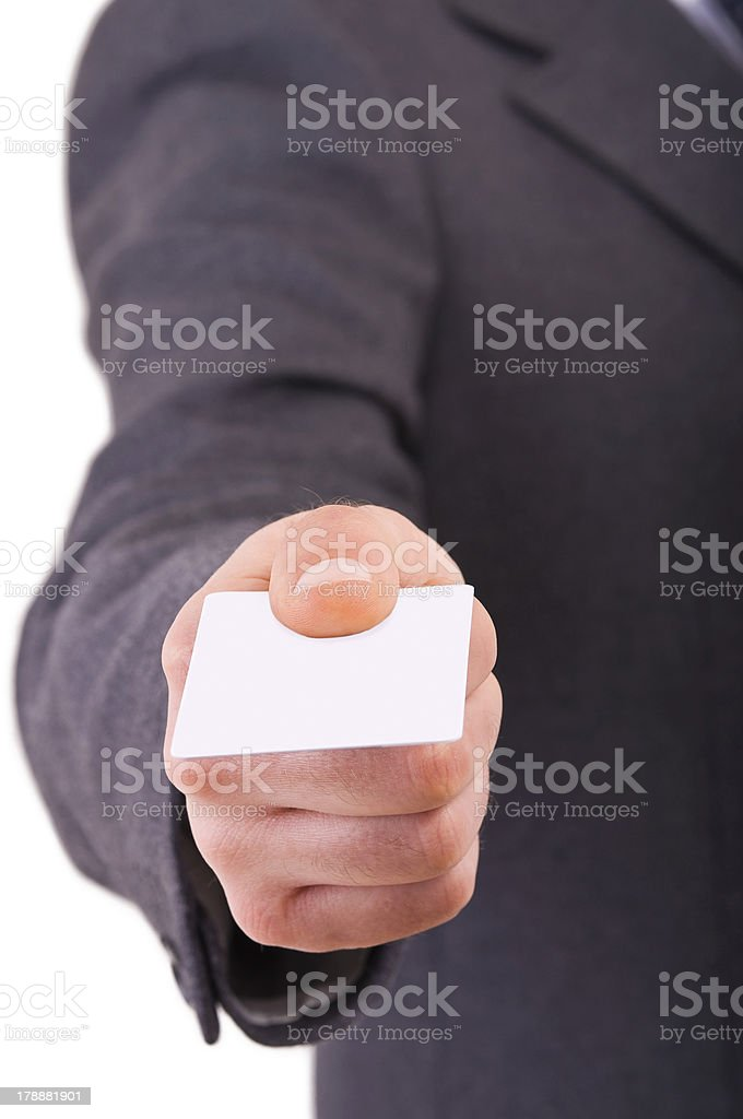 Business man offering blank card. royalty-free stock photo