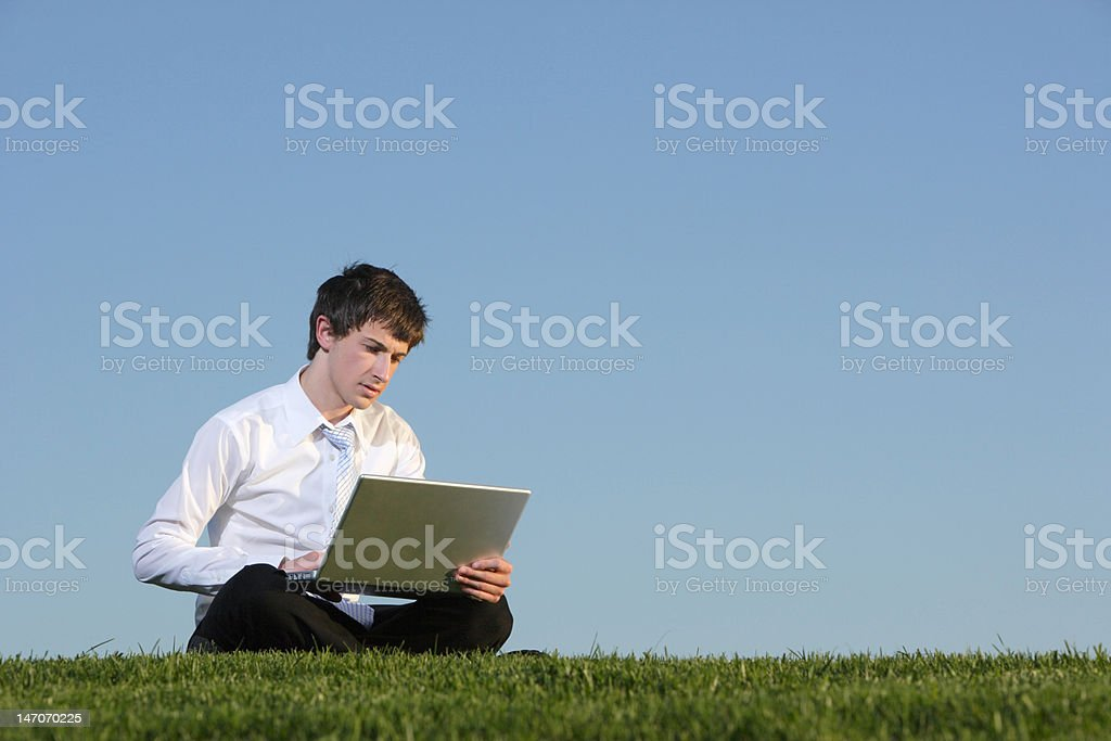 Business man on a laptop royalty-free stock photo