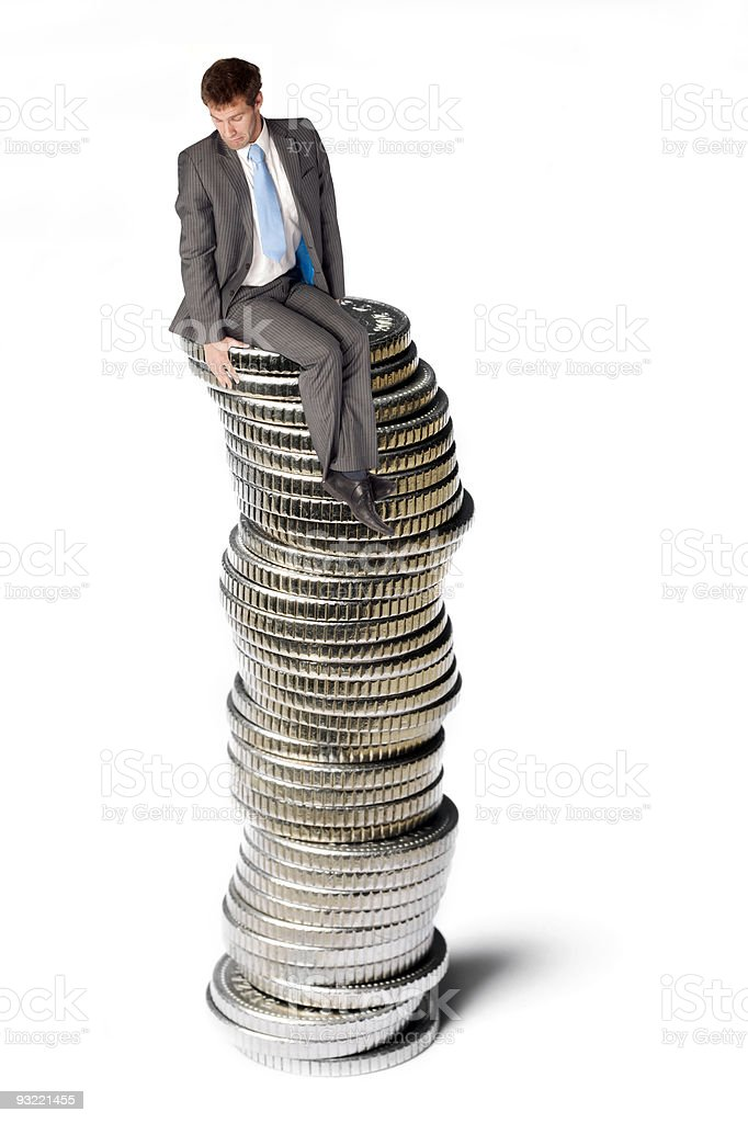 Business man on coins  Adult Stock Photo
