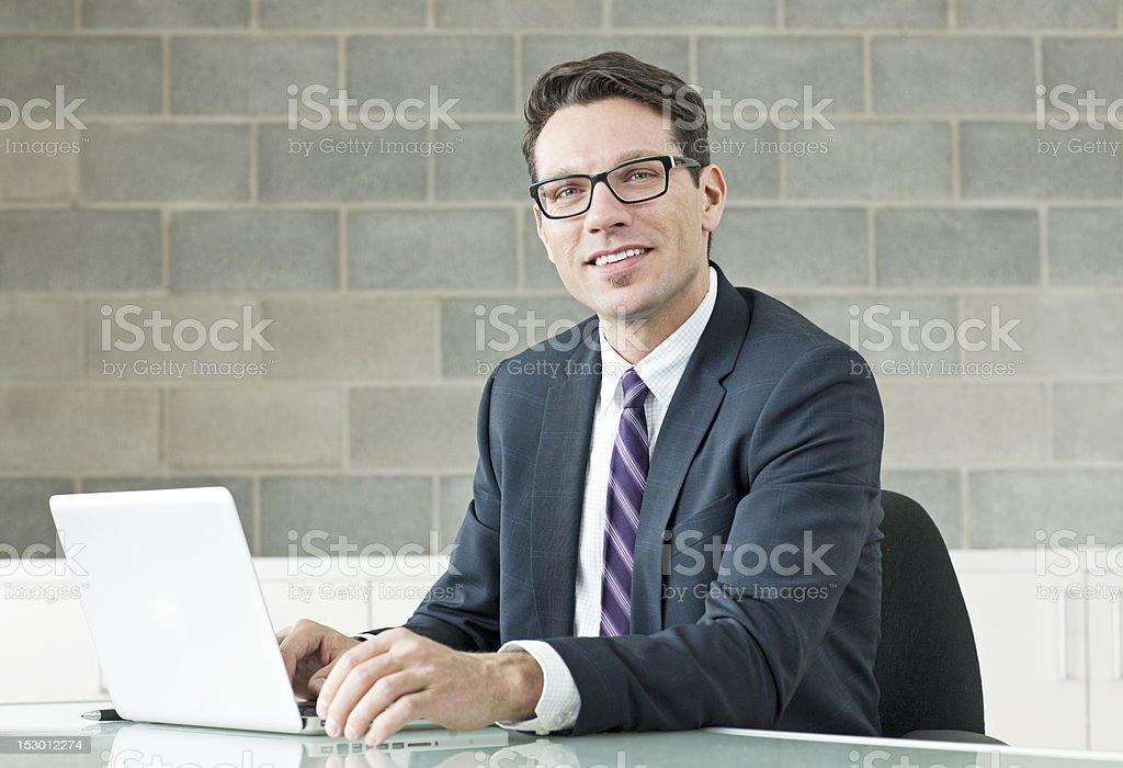 Business man on laptop royalty-free stock photo