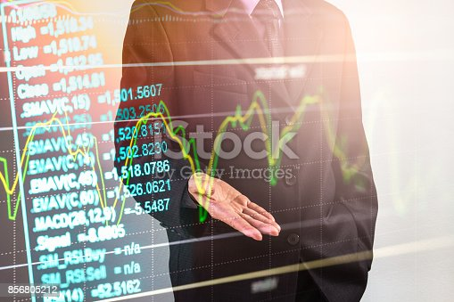 istock Business man on stock market financial trade indicator background. Man analysis stock market financial trade indices on LED. Double exposure of business man trade on stock market financial concept. 856805212