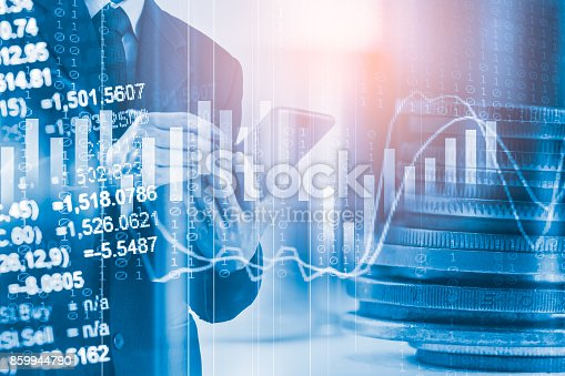 istock Business man on stock market financial trade indicator background. Man analysis stock market financial trade indices on LED. Double exposure of business man trade on stock market financial concept. 859944790