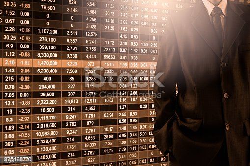 istock Business man on stock market financial trade indicator background. Man analysis stock market financial trade indices on LED. Double exposure of business man trade on stock market financial concept. 875468770