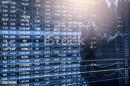 687520174istockphoto Business man on stock market financial trade indicator background. Man analysis stock market financial trade indices on LED. Double exposure of business man trade on stock market financial concept. 876790398