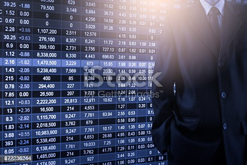 903982138istockphoto Business man on stock market financial trade indicator background. Man analysis stock market financial trade indices on LED. Double exposure of business man trade on stock market financial concept. 877236244