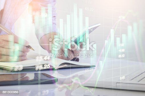 istock Business man on stock market financial trade indicator background. Man analysis stock market financial trade indices on LED. Double exposure of business man trade on stock market financial concept. 881300986