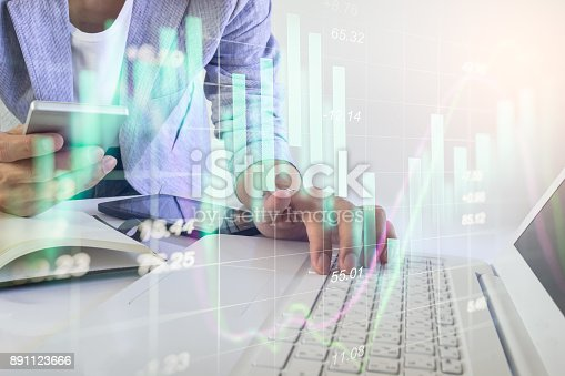 istock Business man on stock market financial trade indicator background. Man analysis stock market financial trade indices on LED. Double exposure of business man trade on stock market financial concept. 891123666