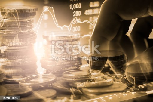 istock Business man on stock market financial trade indicator background. Man analysis stock market financial trade indices on LED. Double exposure of business man trade on stock market financial concept. 906519992