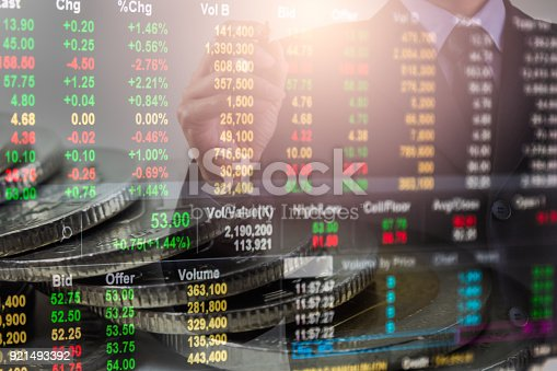903982138istockphoto Business man on stock market financial trade indicator background. Man analysis stock market financial trade indices on LED. Double exposure of business man trade on stock market financial concept. 921493392