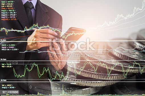 istock Business man on stock market financial trade indicator background. Man analysis stock market financial trade indices on LED. Double exposure of business man trade on stock market financial concept. 921493666