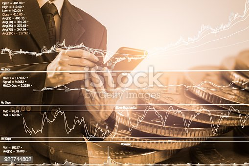 903982138istockphoto Business man on stock market financial trade indicator background. Man analysis stock market financial trade indices on LED. Double exposure of business man trade on stock market financial concept. 922744802