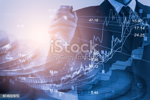 istock Business man on stock market financial trade indicator background. Man analysis stock market financial trade indices on LED. Double exposure of business man trade on stock market financial concept. 924632970