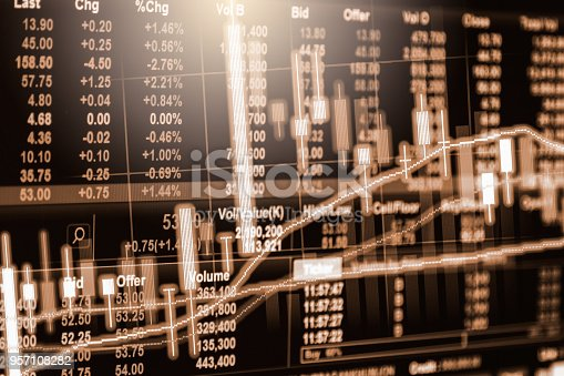 istock Business man on stock market financial trade indicator background. Man analysis stock market financial trade indices on LED. Double exposure of business man trade on stock market financial concept. 957108282