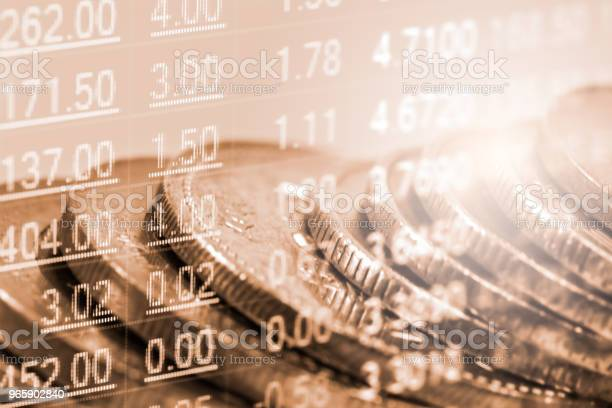 Business Man On Stock Market Financial Trade Indicator Background Man Analysis Stock Market Financial Trade Indices On Led Double Exposure Of Business Man Trade On Stock Market Financial Concept - Fotografias de stock e mais imagens de Abstrato