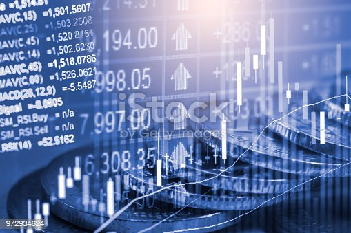 903982138istockphoto Business man on stock market financial trade indicator background. Man analysis stock market financial trade indices on LED. Double exposure of business man trade on stock market financial concept. 972934624