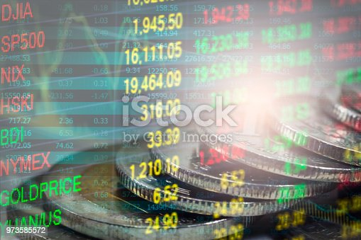 istock Business man on stock market financial trade indicator background. Man analysis stock market financial trade indices on LED. Double exposure of business man trade on stock market financial concept. 973585572