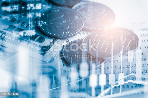 istock Business man on stock market financial trade indicator background. Man analysis stock market financial trade indices on LED. Double exposure of business man trade on stock market financial concept. 991592034