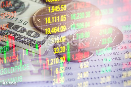 istock Business man on stock market financial trade indicator background. Man analysis stock market financial trade indices on LED. Double exposure of business man trade on stock market financial concept. 992475548